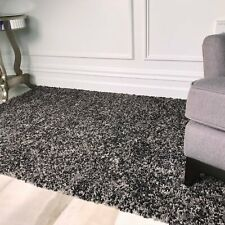Mottled Two Tone Soft Quality Non Gray Graphite Black Twisted Pile Shaggy Rugs