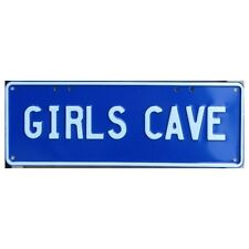 Novelty Number Plate - Girls Cave - White On Blue AUS Licence Plate Sign Wall Ar
