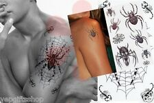 4-Pack Mix Spider Temporary Tattoo Flash with Glitter, Sexy Halloween Tattoos