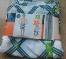 NEW Boys Bathing Suit Swim Trunks Size L 10-12 Shorts UV 50 UPF White Striped