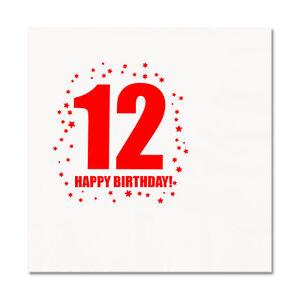 12th BIRTHDAY LUNCHEON NAPKIN 16/pkg Large Napkin Birthday Party Supplies T260