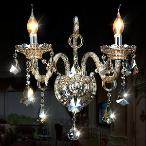 Genuine K9 Crystal 2 Arms Clear/ Champagne Chandelier wall light E14 Bulb