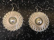 "Drop Dangle Pierced Earrings Flower Base Framed With Ivory Weaved Thread 2"" Drop"