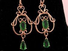 E040- Genuine 9ct SOLID Rose / Pink Gold NATURAL Emerald FILIGREE Drop Earrings
