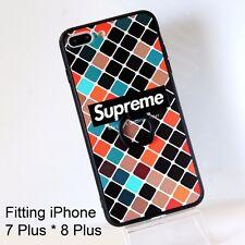 Supreme Checker Plaid Silicone Cover Case w/ Ring Kickstand iPhone 7 P