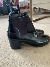 Navy Hunter Wellie Chelsea Festival Boots With Block Heel Size 6/39