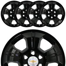 "4 Black 2014-2019 Silverado 1500 18"" Wheel Skins Hub Caps Alloy Rim Full Covers"