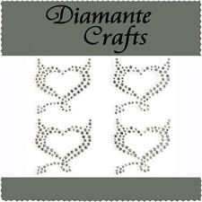 4 x 32mm Clear Diamante Devil Hearts Rhinestone Self Adhesive Embellishment Gems