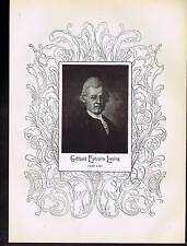 1898 Portrait Gotthold Ephraim Lessing German Writer Philosopher