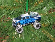 Jada 1999 Chevrolet Silverado Dooley Blue Custom Christmas Ornament w/tree,snowG