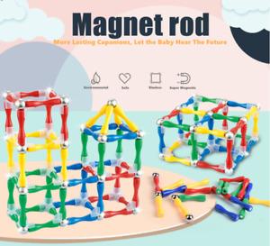 124 Piece DIY Kids Magnetic rod Toys For Boy Girls Magnet Mini Tiles Kit