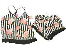 NWT S Betsey Johnson Tank Short Set Floral Stripe Black White lingerie pajama