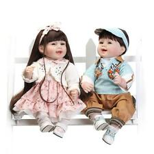 Realistic Baby Doll Twins Silicone Reborn Baby Dolls Smiling Boy and Girl 22inch