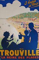 trouville france  Vintage Illustrated Travel Poster Print Framed Canvas