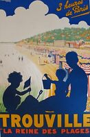trouville france  Vintage painting  art Travel Poster Print Framed Canvas