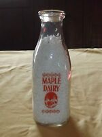 VINTAGE 1963 MAPLE DAIRY  H HIGGINS W. SAND LAKE NY  1 QT MILK BOTTLE