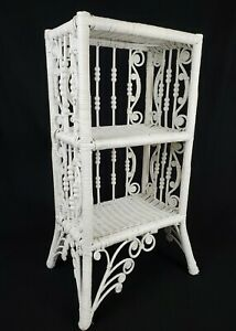 Antique Wicker Stick & Ball Etagere Bookcase Shelf Stand Heywood Wakefield Style