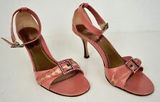 Isabella Fiore Sandal Shoes Pink Animal Print Buckle Strap High Kitten Heel 9 B