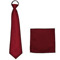 New Polyester Men's ready knot pre tied neck tie & hankie solid formal burgundy