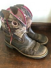 ARIAT 6.5 Fat Baby Boots Camouflage/Pink Trim & Dk Brown Leather Western Cowboy