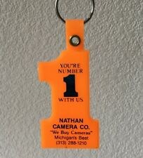 Vintage Keychain NATHAN CAMERA CO. Key Ring Fob Michigan's Best
