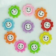 10 x Resin Flat Back Smiley Flower - 20 mm - Crafts - Phone Bling - Free Ship