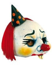 YORDI THE EVIL CLOWN OPEN HALF HEAD MASK SCARY LATEX HALLOWEEN MASK