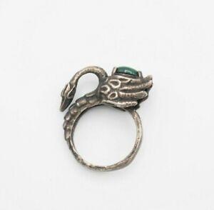 Vintage Art Studio artisan swan bird malachite accent ring size 7