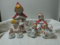 Vintage Hull-Ware #967 Little Red Riding Hood Cookie Jar, Tea Pot, C & S, S & P