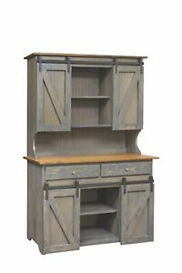 A Amish Hand Built Large Hutch 75x48x21  & AA Large Step Stool
