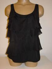 Isabella Rodriguez black tiered cami tank top sheer layers-S-NWT-$68.00
