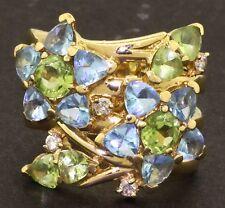 Heavy 18K gold 4.62CT topaz peridot diamond flower cocktail ring size 7.5
