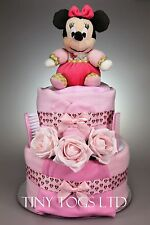 Baby Girl Two Tier Pretty in Pink Minnie Mouse Nappy Cake