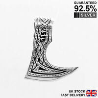 925 Silver Large Axe Raven Berserk Norse Viking Amulet Pendant ✔️Solid ✔️Quality