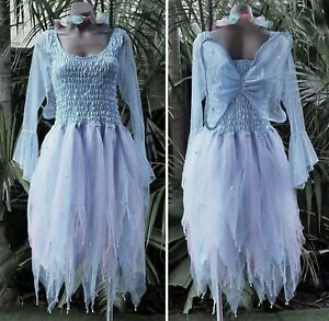 Women's Fairy Dress Costume with Sleeves & Wings - LIGHT BLUE & PINK