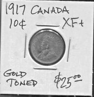 CANADA - FANTASTIC HISTORICAL GOLD TONED GEORGE V SILVER 10 CENTS, 1917, KM# 23