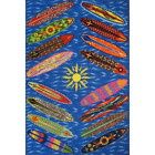 Surf Time Go Surfing Multi Colored 3 Ft. X 5 Ft. Area Rug