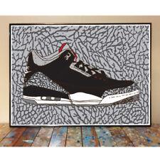 AIR JORDAN 3 BLACK CEMENT OG MICHAEL CHICAGO BULLS NBA SNEAKER ART PRINT