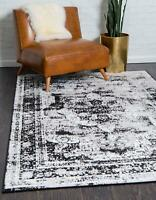 5 x 8 feet Traditional Area Rug Vintage Faded Floral Pattern Distressed Black