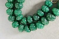 VINTAGE NATURAL ZAMBIA EMERALD BEADS CARVED GEMSTONE NECKLACE
