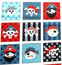 Pirates  Card Squares fabric Makower MK1675 100% Cotton 44 squares