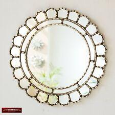 """Decorative Accent Round Mirror For wall 17.7in """"Cuscaja Silver"""", Peruvian Mirror"""
