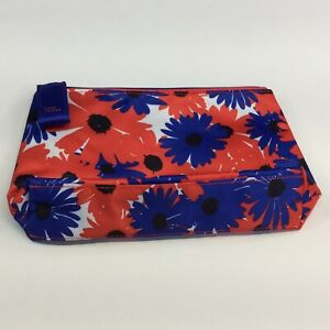 Estee Lauder Cosmetic Bag Travel Red Blue Floral Zipper 8 1/2 Wide 5 1/2 Tall