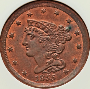 1855 Half Cent NGC MS65RB Nice Fields Strong Strike Red Luster Obverse & Reverse