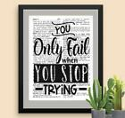You Only Fail When You Stop Dictionary Art Print Mixed Art Inspirational Quote