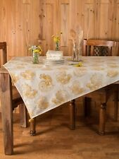 April Cornell Backyard Rooster Tablecloth Collection 48x48 NWT 100% Cotton Gold