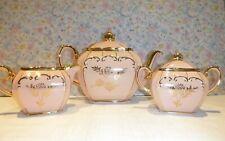 Sadler Cube Pink Teapot with Cream and Sugar Set Tea Set Full Size