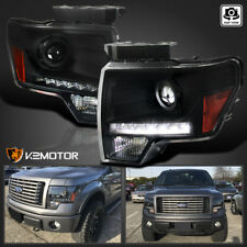 Black 2009-2014 Ford F150 F-150 LED DRL Projector Headlights Left+Right