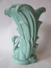 SWAN VASE! Vintage McCOY ART pottery circa 1946 gloss TURQUOISE GREEN glaze: EXC