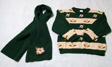 Girl's Toddler Pappa & Ciccia Italy Hunter Green & Beige  Sweater & Scarf Size 2